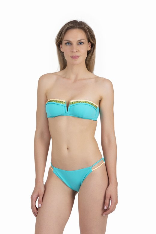 SOLID COLOUR BANDEAU BIKINI WITH APPLICATION BRAIDS AND SEQUINS