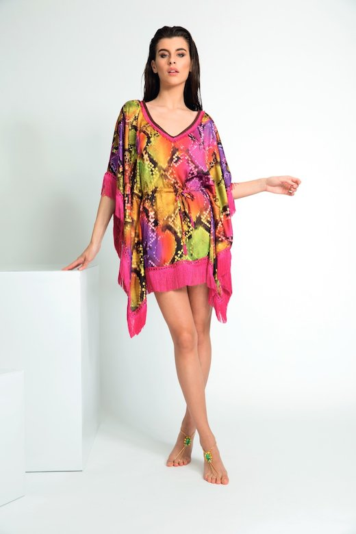 VISCOSE PONCHO WITH FRINGES AND WAIST DRAWSTRING