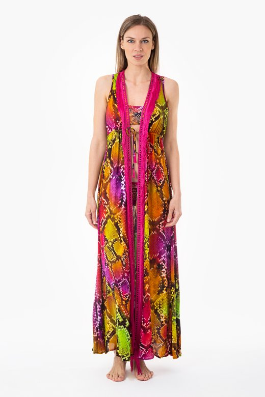 LONG ROBE DRESS WITH FRINGES