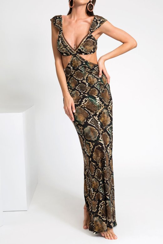 LUXE LONG DRESS WITH CUTS UNDER BREAST