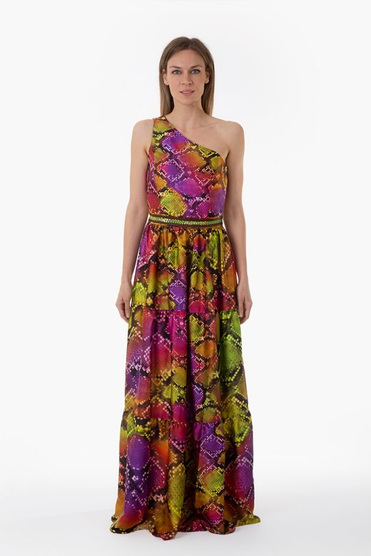 SATIN LONG EVENING DRESS ONE-SHOULDER WITH PASSEMENTERIE DETAILS ON THE WAIST