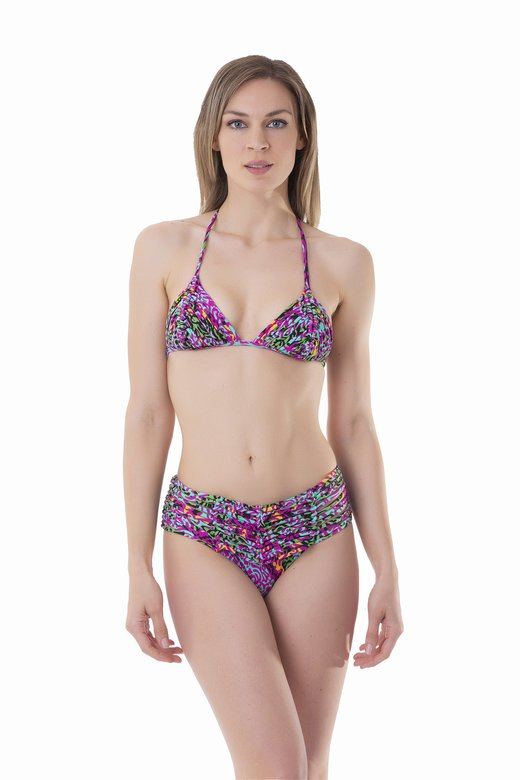 LUXE PRINTED TRIANGLE BIKINI WITH MACRAME' AND BOTTOM WITH MACRAME' BELT