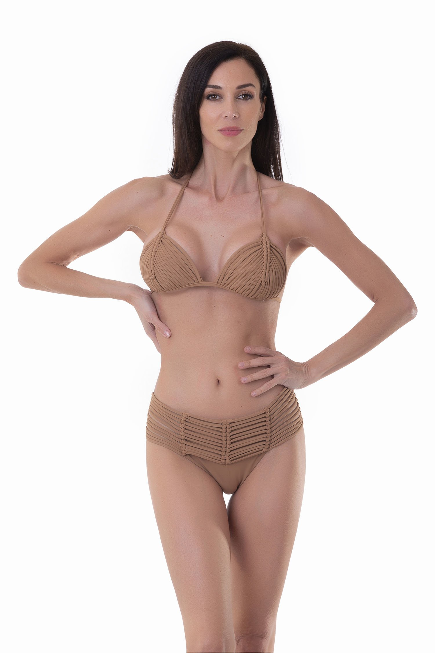 LUXE PLAIN COLOUR TRIANGLE BIKINI WITH MACRAME' AND BOTTOM WITH MACRAME' BELT - Rame