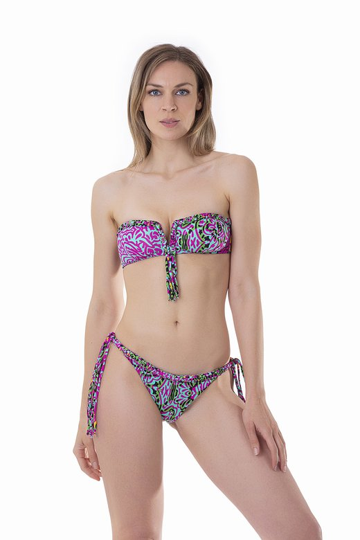 LUXE PRINTED BANDEAU BIKINI WITH MACRAME' BRAZILIAN BOTTOM