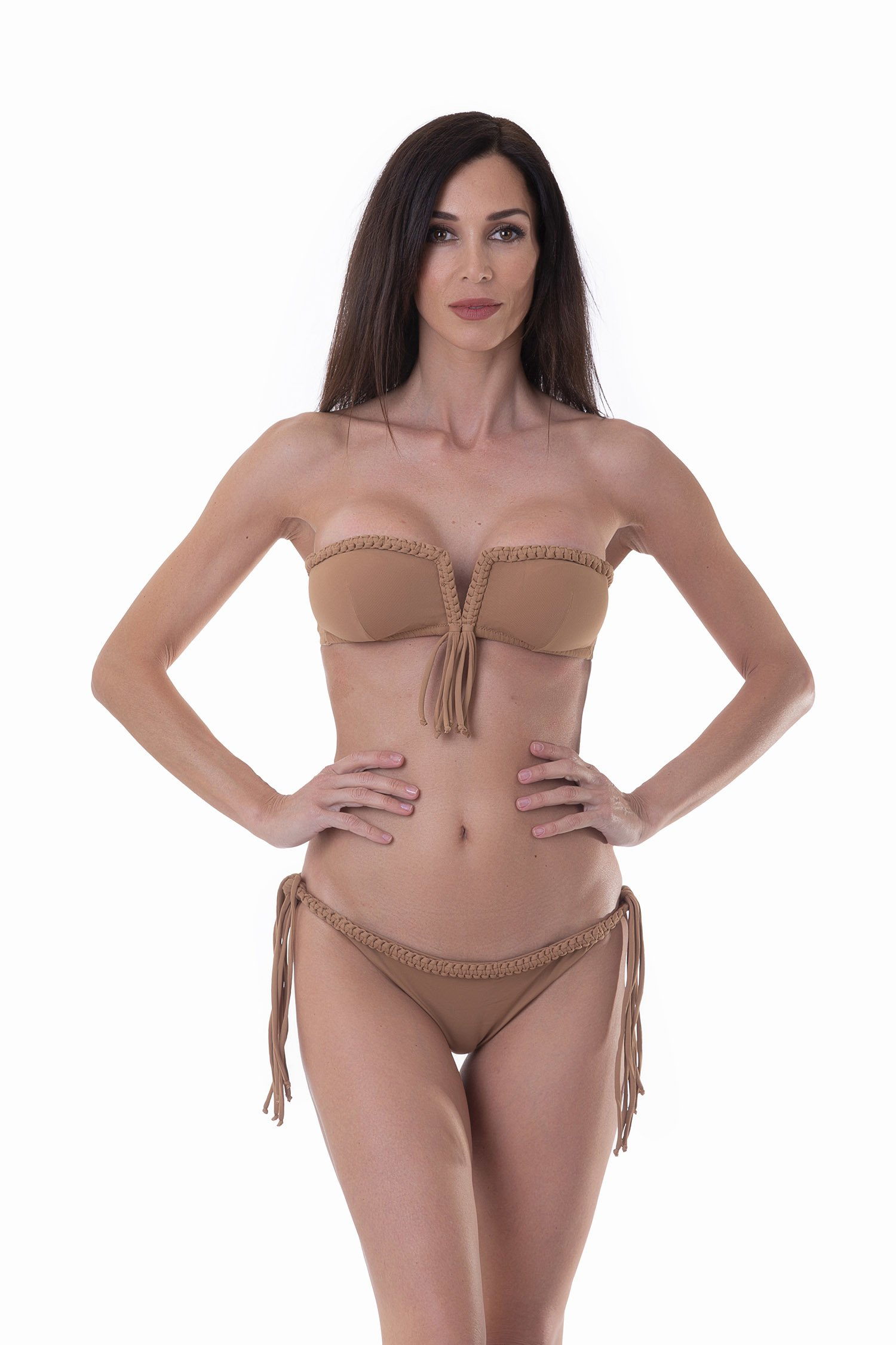 LUXE PLAIN COLOUR BANDEAU BIKINI WITH MACRAME' BRAZILIAN BOTTOM - Rame