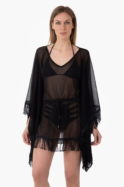 LUREX PONCHO WITH FRINGES