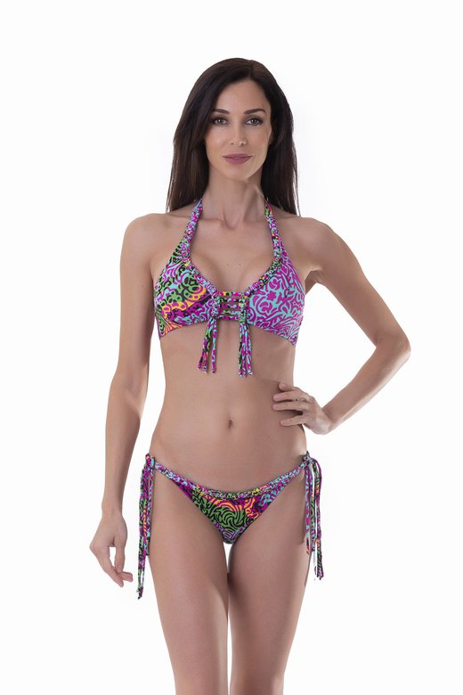 LUXE PRINTED HALTER TRIANGLE BIKINI WITH MACRAME' APPLICATION