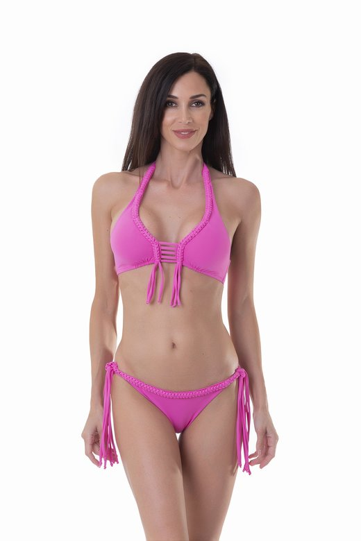 LUXE PLAIN COLOUR HALTER TRIANGLE BIKINI WITH MACRAME' APPLICATION