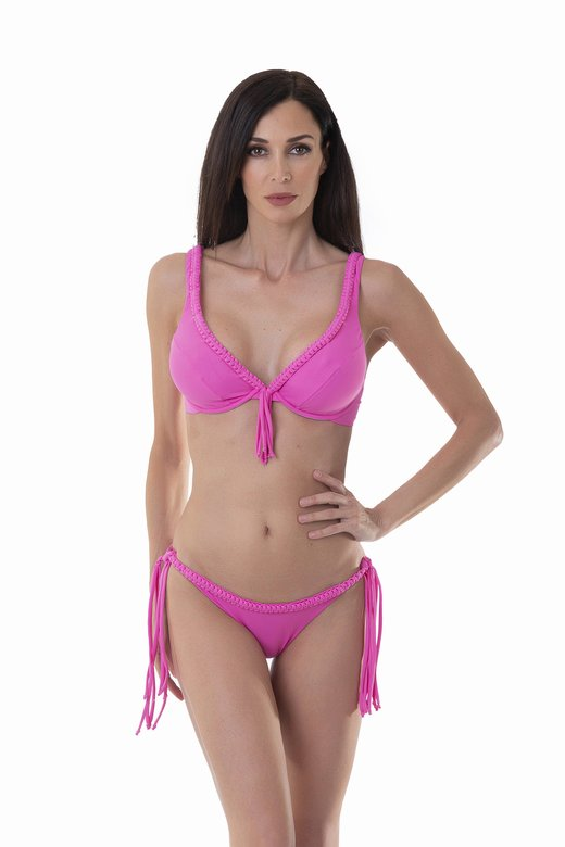LUXE PLAIN COLOUR UNDERWIRE HALTER TRIANGLE BIKINI