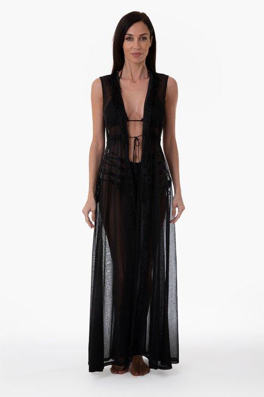PLAIN COLOUR LUREX LONG ROBE DRESS