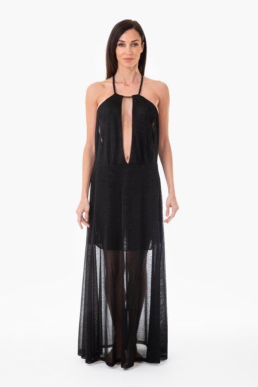 LUREX LONG BEACH DRESS WITH DEEP NECKLINE