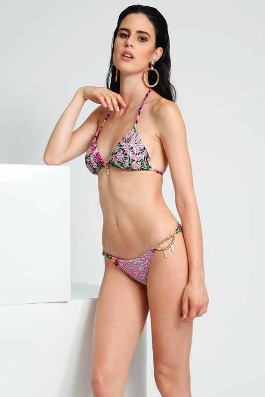 PRINT TRIANGLE BIKINI WITH JEWERLY APPLICATIONS