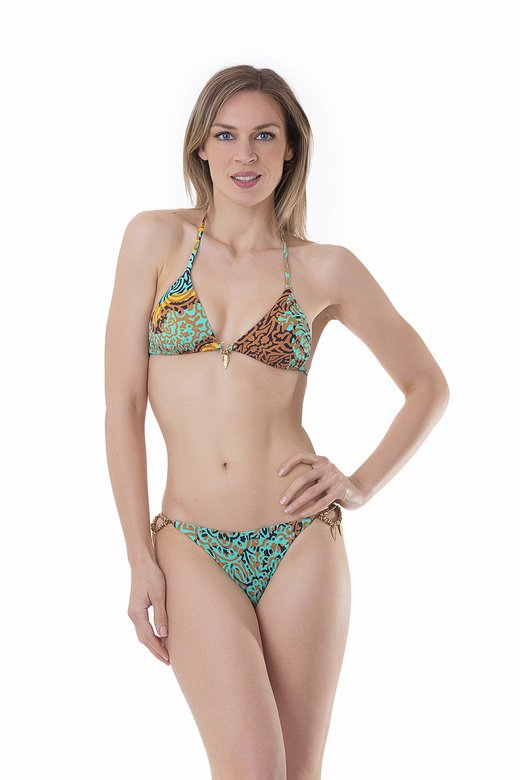 LUXE PRINTED TRIANGLE BIKINI WITH COSTUME JEWELLERY