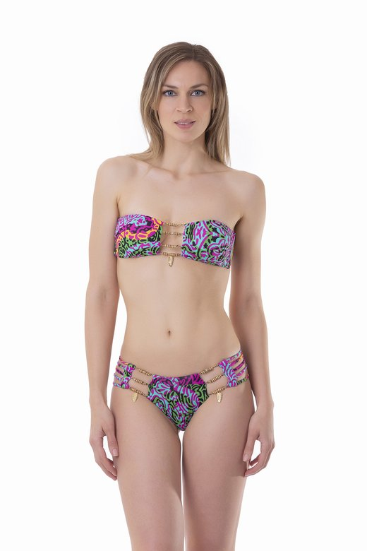 LUXE PRINTED BANDEAU BIKINI WITH CUSTOM JEWELLERY