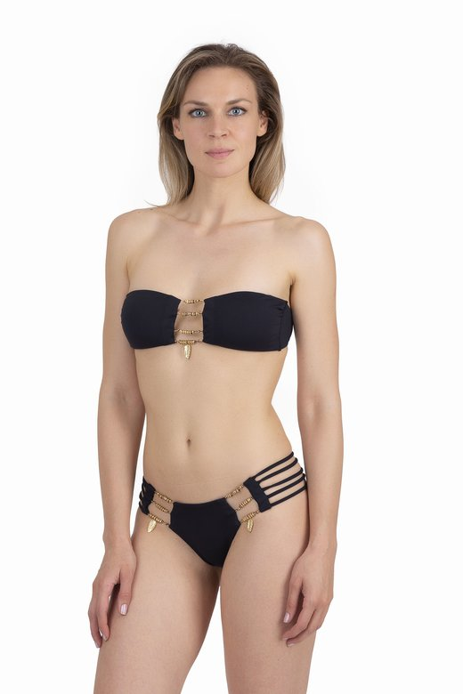 SOLID COLOR BANDEAU BIKINI WITH JEWERLY APPLICATIONS