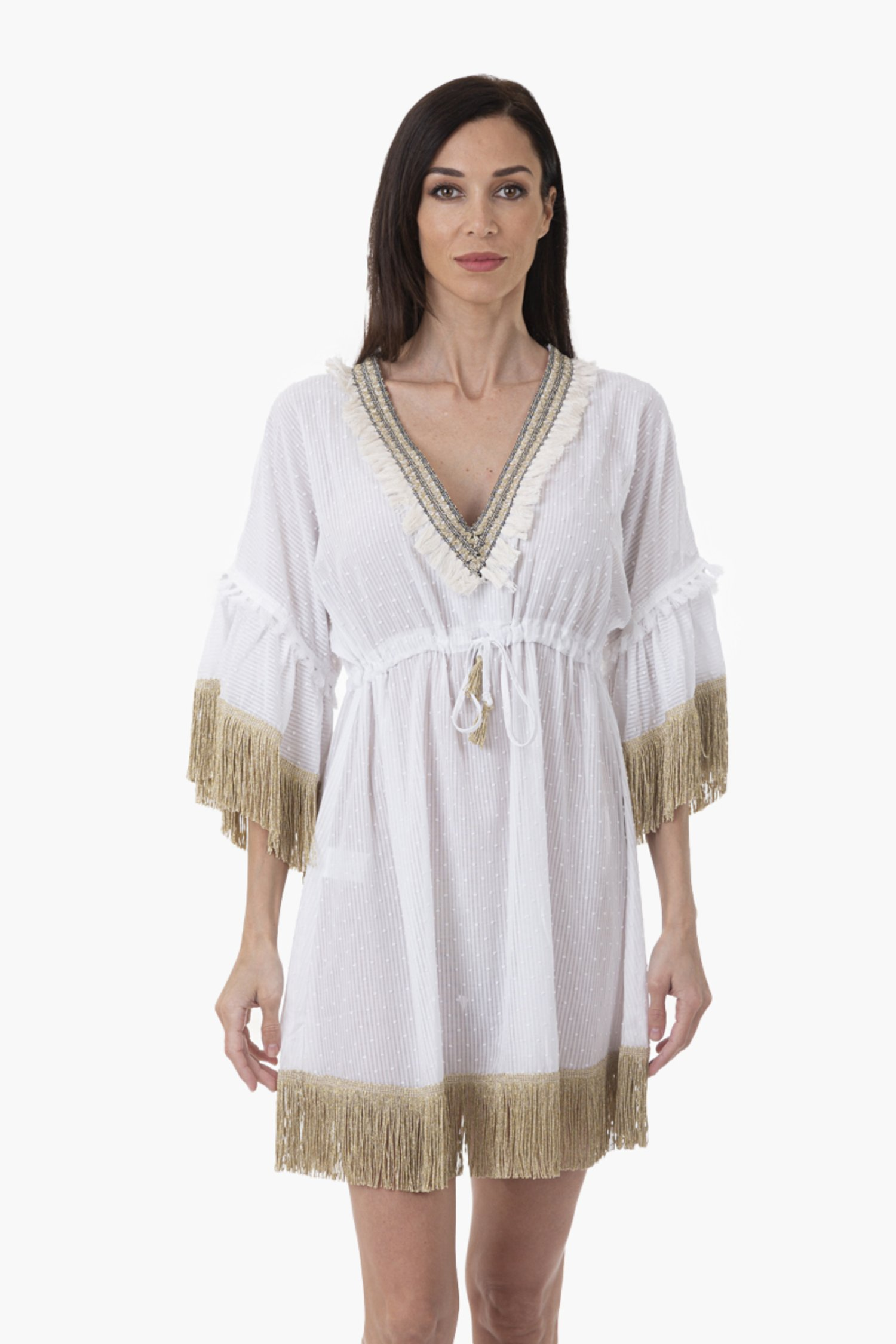 SHORT CAFTAN WITH TRIMMING FINISH - White