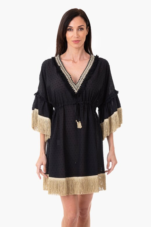 SHORT CAFTAN WITH TRIMMING FINISH