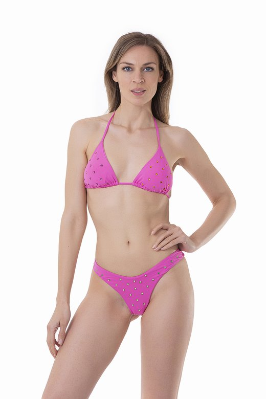 LUXE PLAIN COLOUR TRIANGLE BIKINI WITH COLOURED RHINESTONES