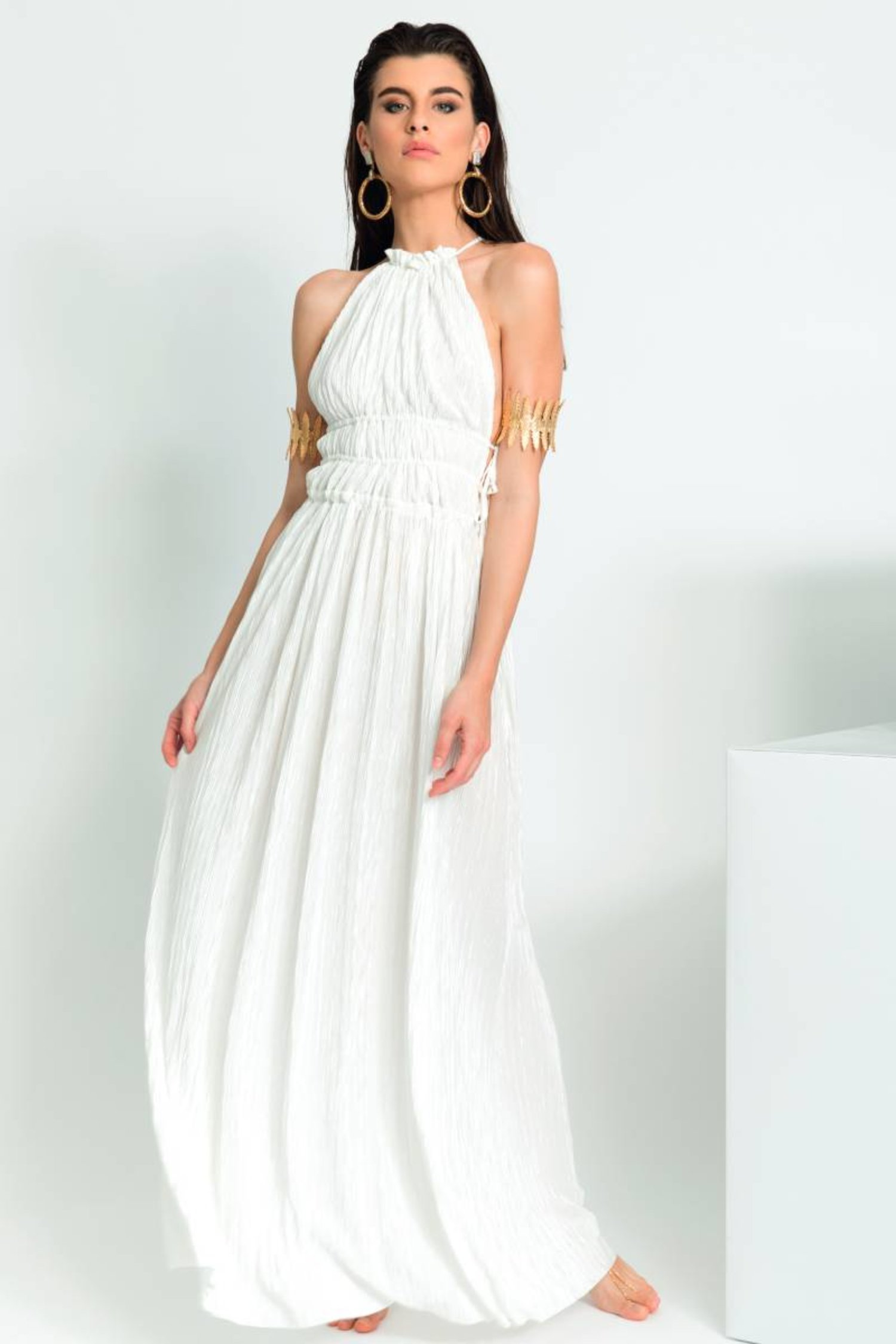 LONG DRESS HALTER NECKLINE PLEATED SOLID COLOUR - Plisse' Bianco