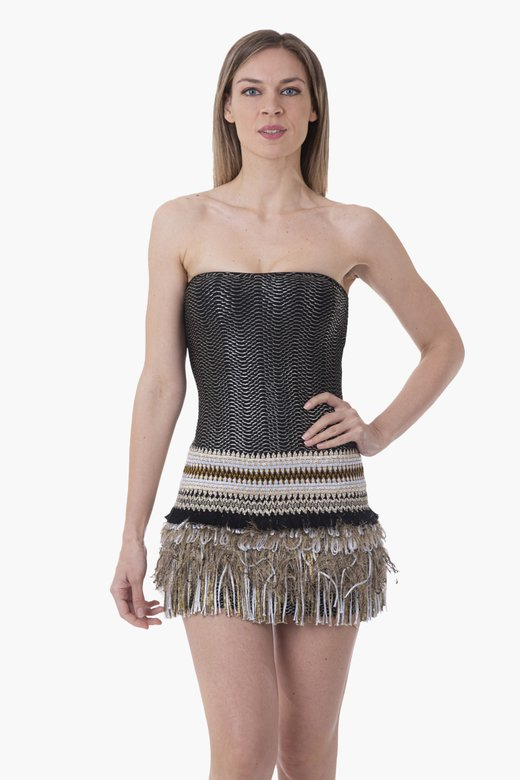 COATED FABRIC SHORT DRESS PASSEMENTERIE SKIRT