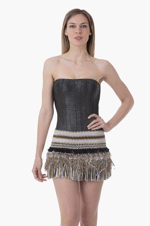 COATED FABRIC SHORT DRESS PASSEMENTERIE SKIRT