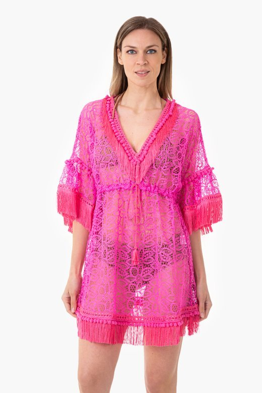 MACRAME' LACE SHORT KAFTAN WITH TRIMMING DETAILS