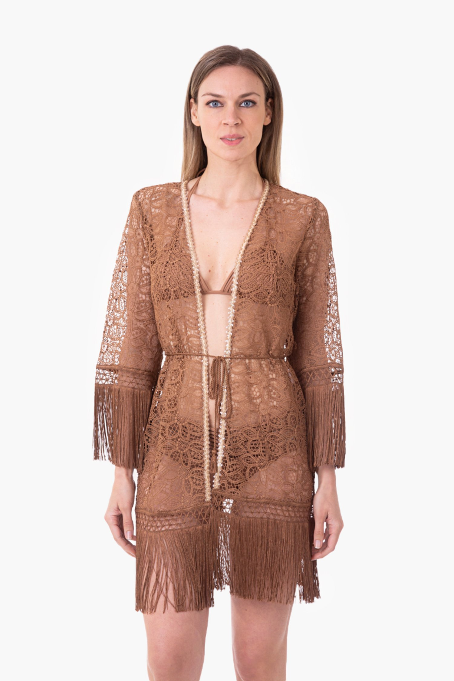 MACRAME' LACE SHORT ROBE WITH PASSEMENTERIE - Pizzo Macrame' Rame