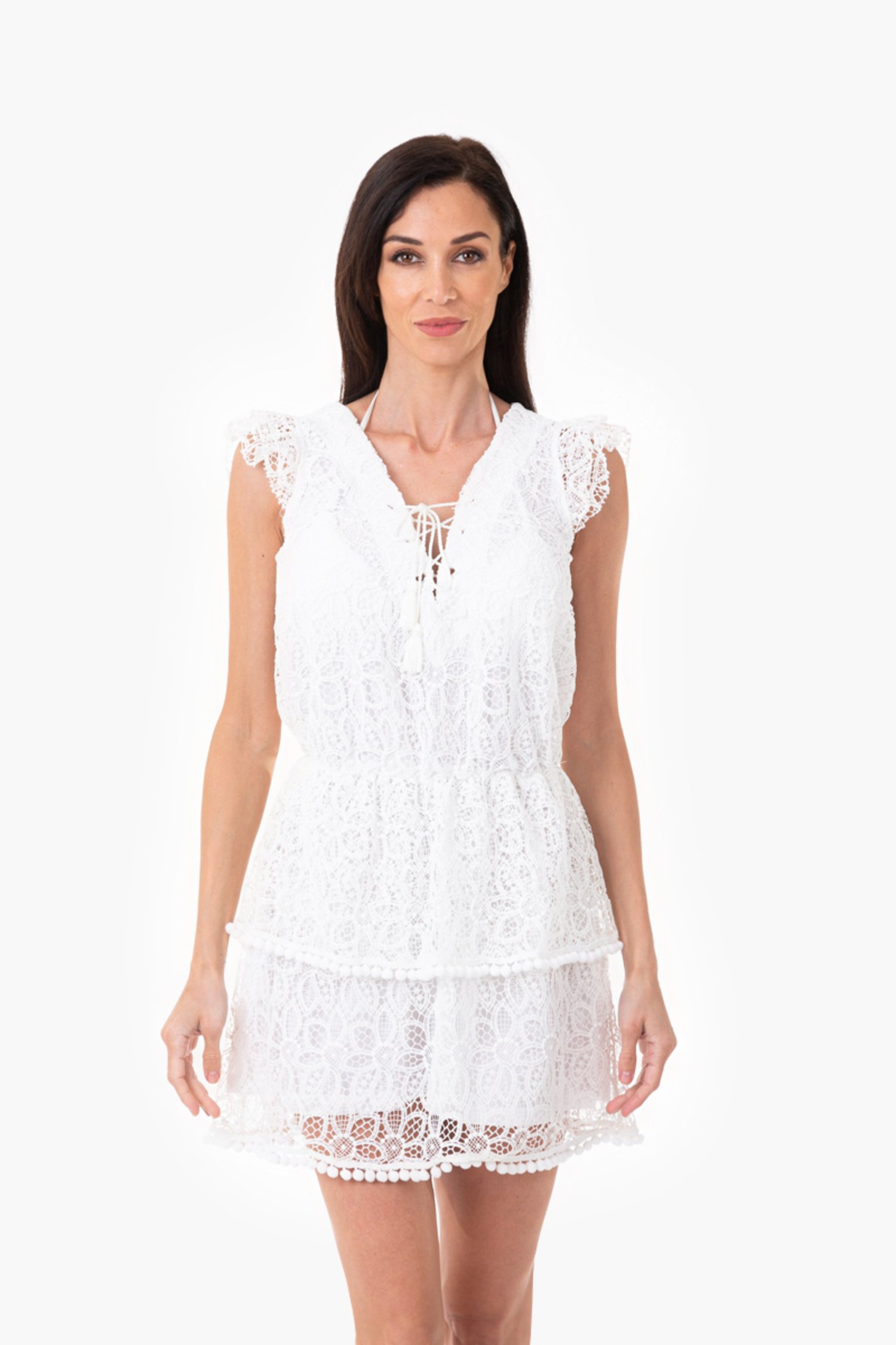 MACRAME' LACE SHORT DRESS - Pizzo Macrame' Bianco