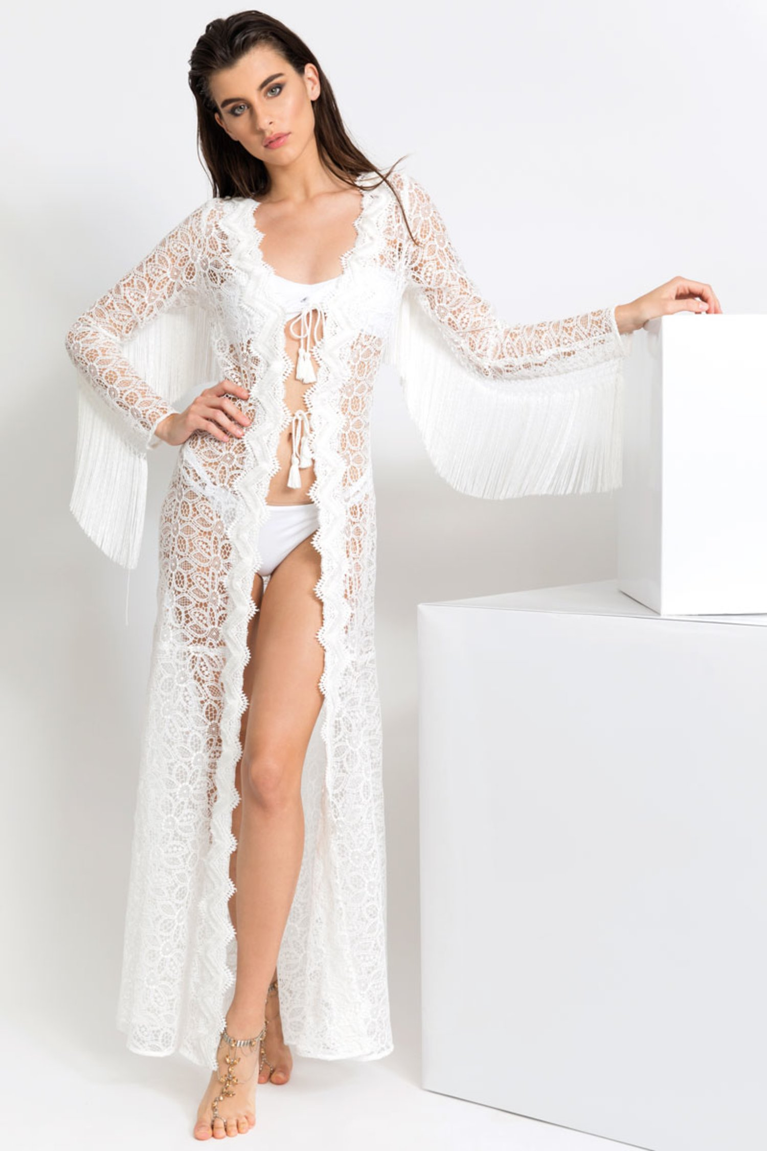 MACRAME' LACE LONG ROBE WITH TRIMMING - Pizzo Macrame' Bianco