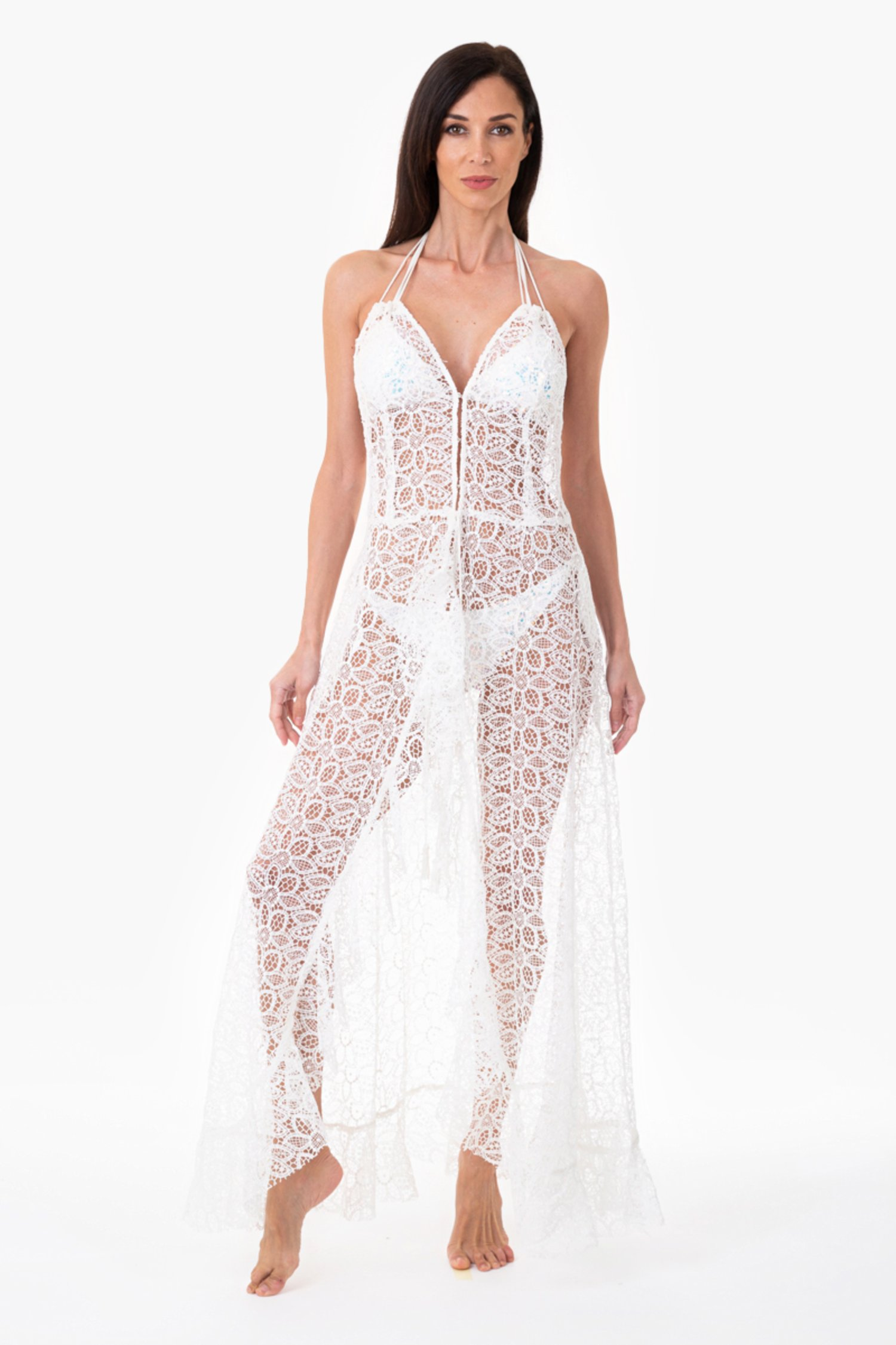 Long macramé lace dress - Pizzo Macrame' Bianco