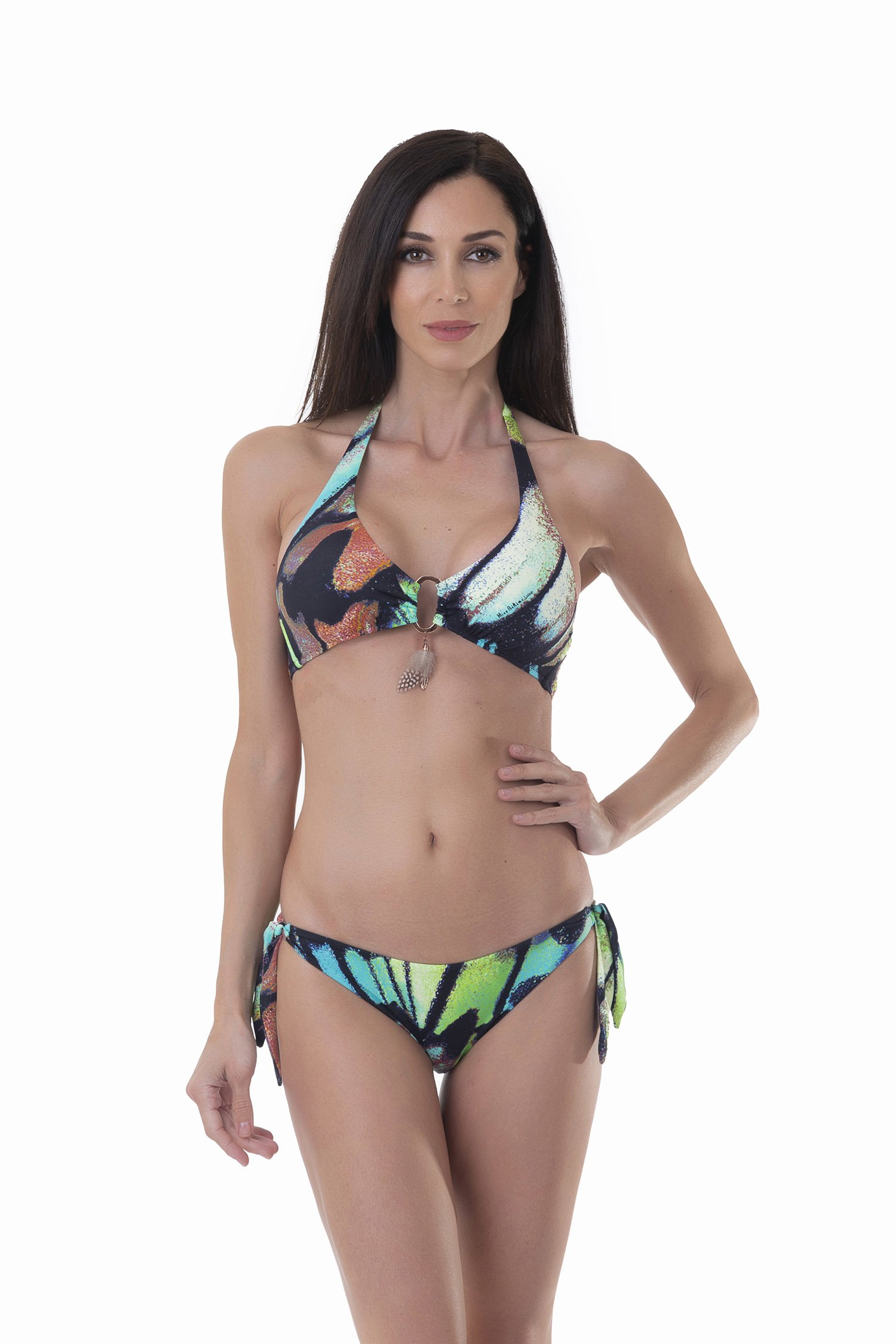 HALTER TRIANGLE BIKINI WITH APPLICATION FEATHERS AND CUSTOM JEWELLERY - Farfalle Blu