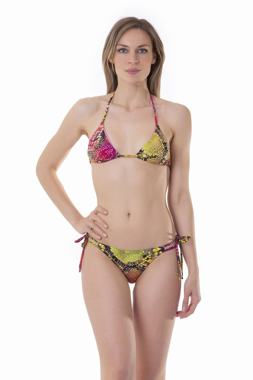 TRIANGLE TOP BIKINI WITH RHINESTONES AND BRAZILIAN BOTTOM WITH TIES