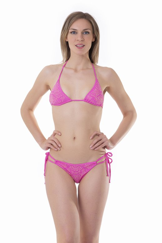 TRIANGLE BIKINI LUXE WITH STRASS AND BRAZILIAN SLIP