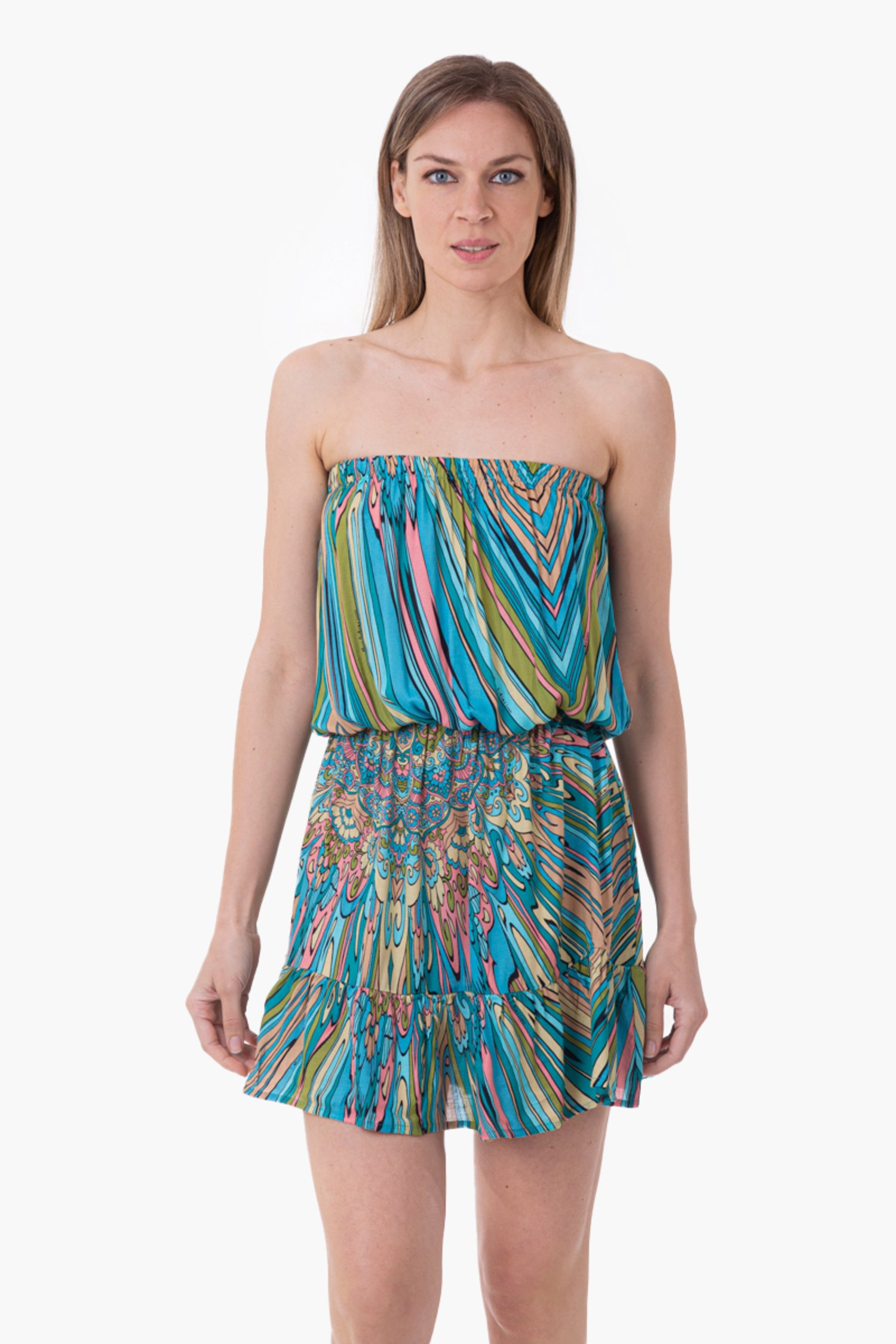 VISCOSE PRINTED SHORT DRESS - Mandala Azzurro