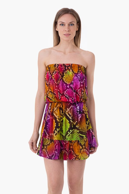 VISCOSE PRINTED SHORT DRESS