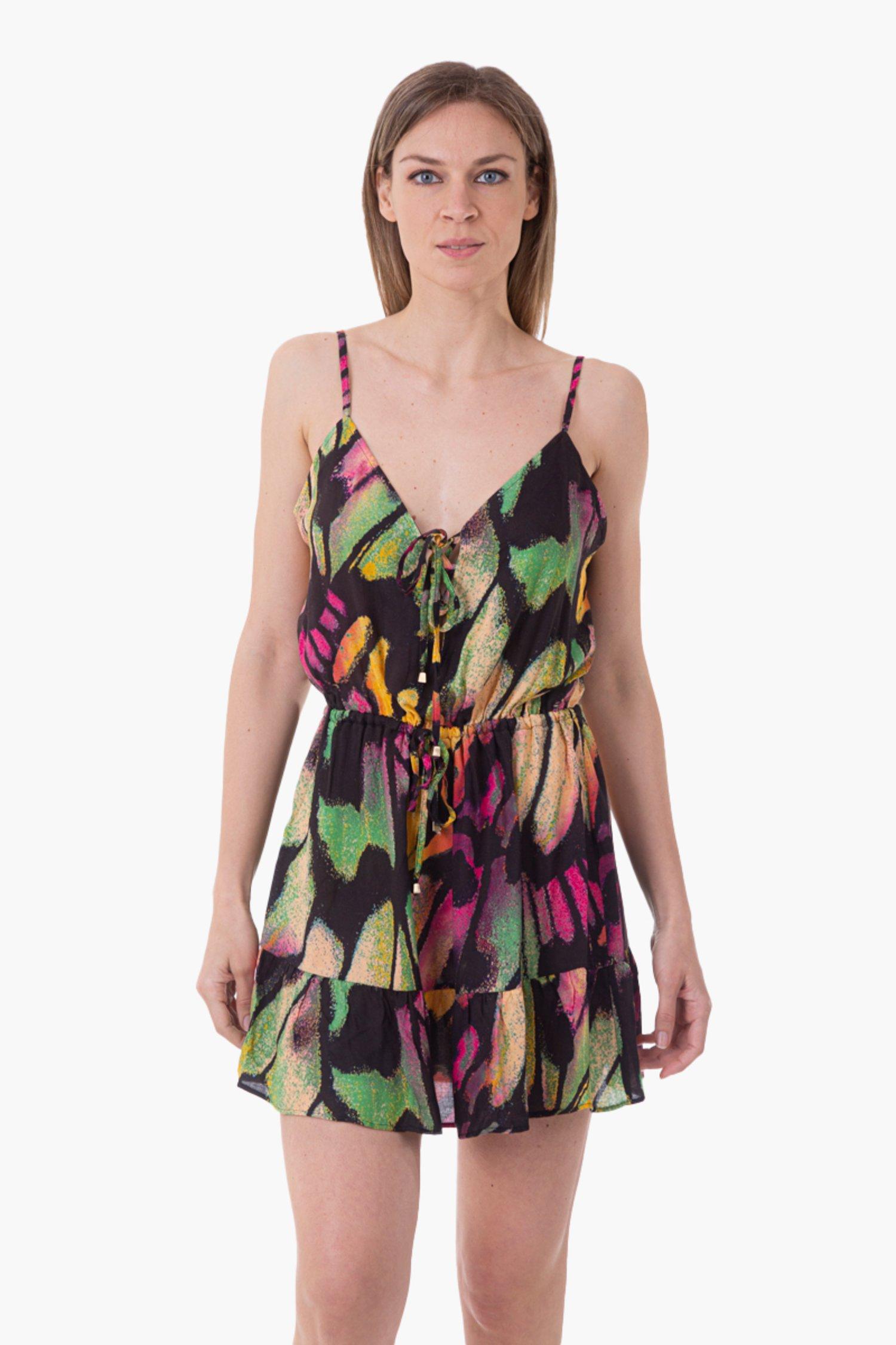 VISCOSE PRINTED SHORT DRESS - Farfalle Arancio