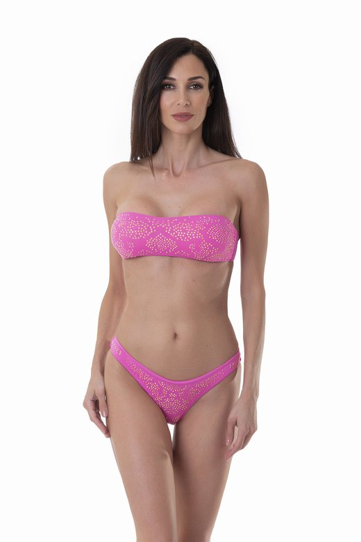 BANDEAU BIKINI WITH STRASS AND BRASILIAN SLIP