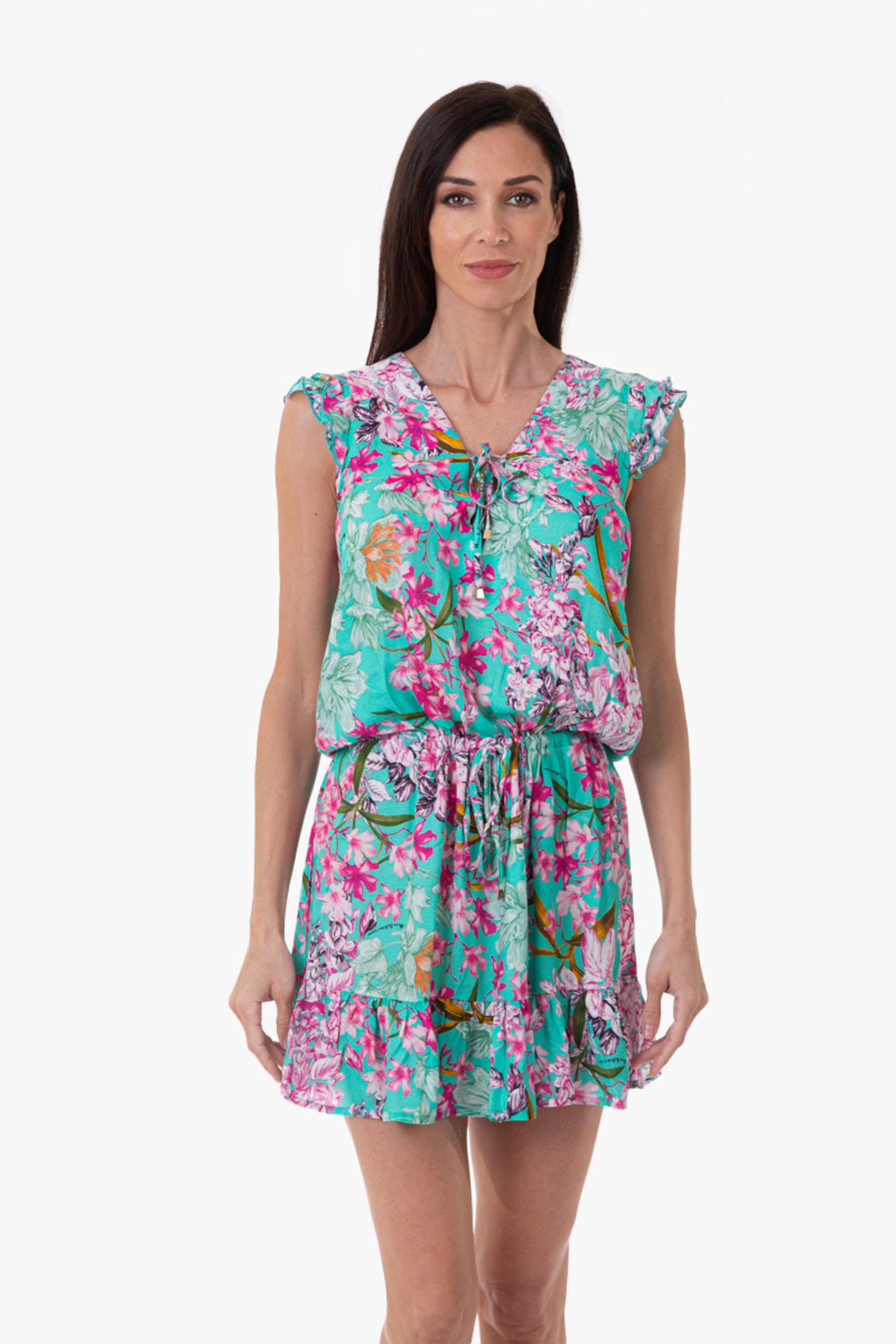 VISCOSE PRINTED SHORT DRESS WITH RUCHES - Fiori Azzurro