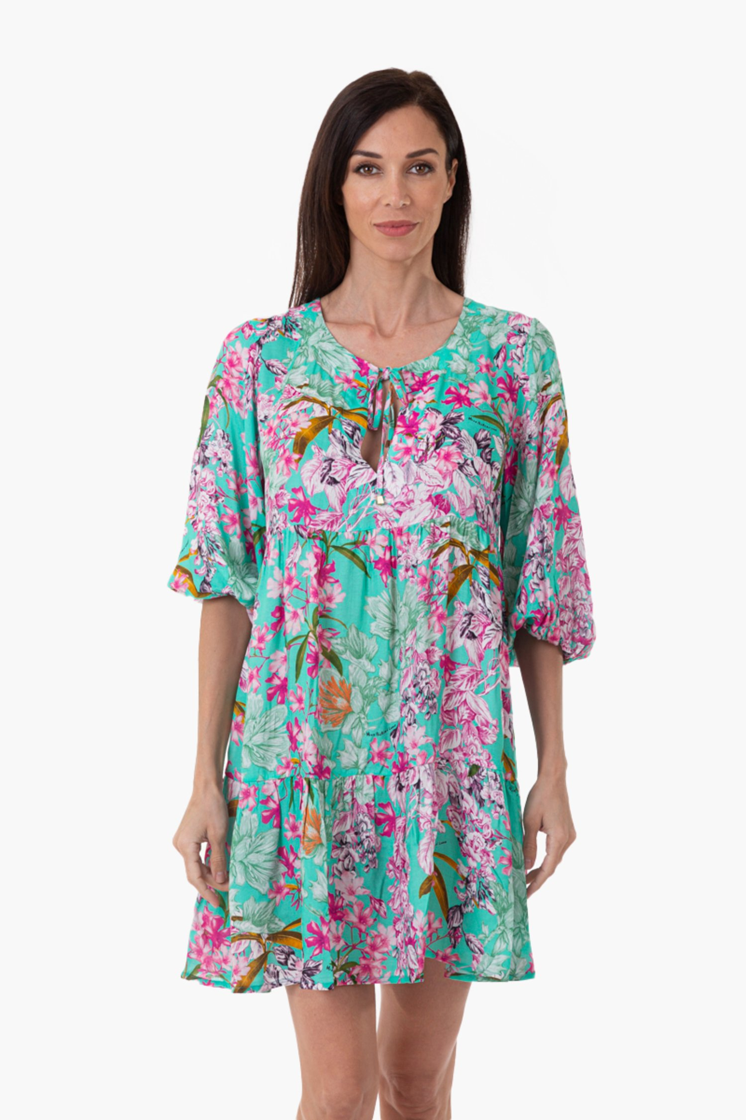PRINTED VISCOSE CAFTAN WITH THREE QUARTER SLEEVES - Fiori Azzurro