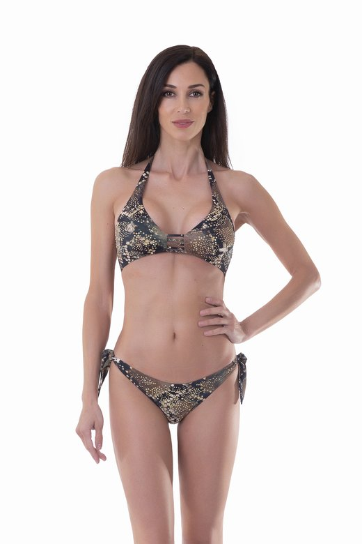 BIKINI LUXE  WITH STRASS - Pitone Marrone