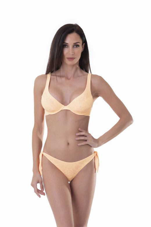 HALTER TRIANGLE BIKINI SOLID COLOUR WITH RHINESTONES