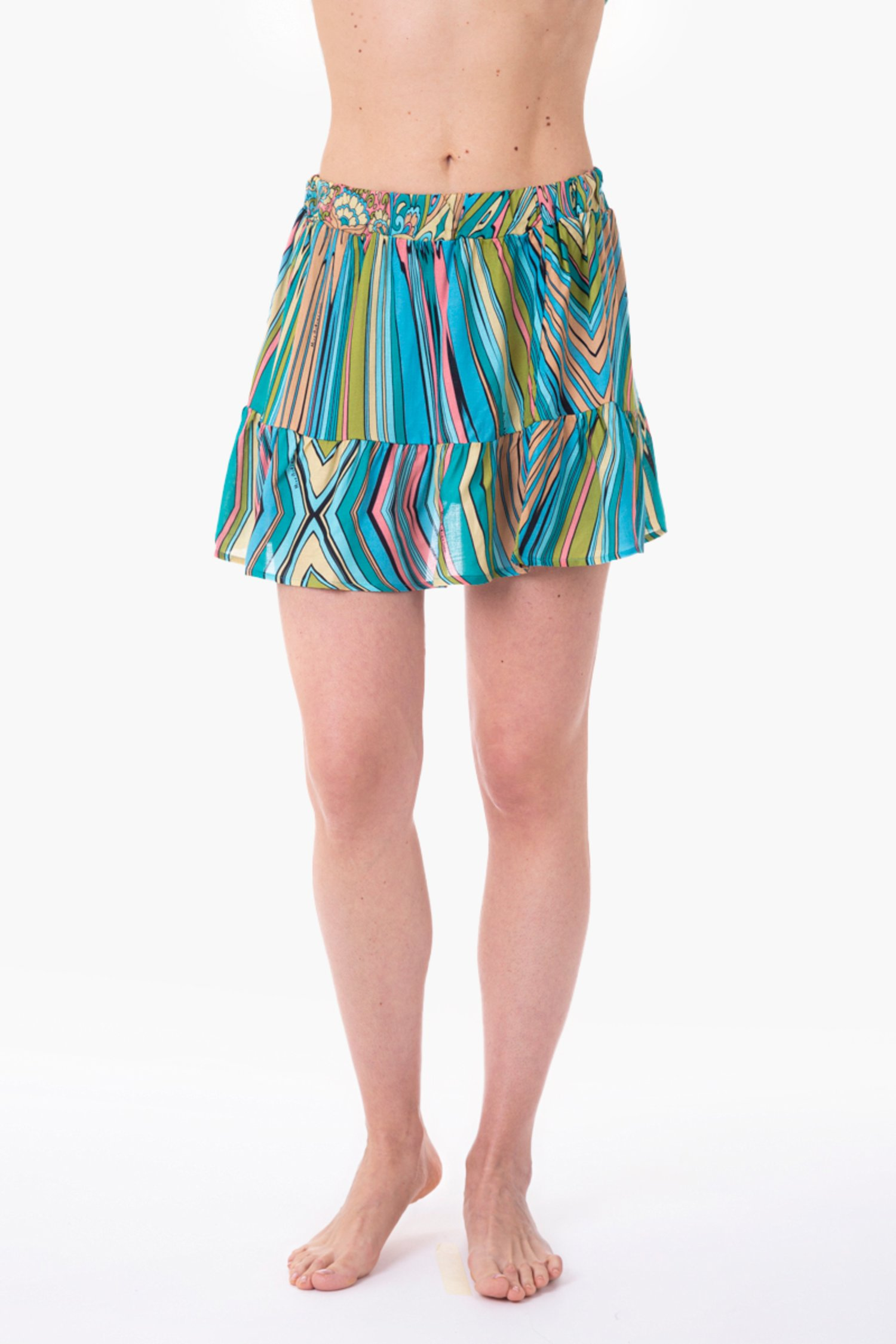 VISCOSE PRINTED SHORT SKIRT - Mandala Azzurro