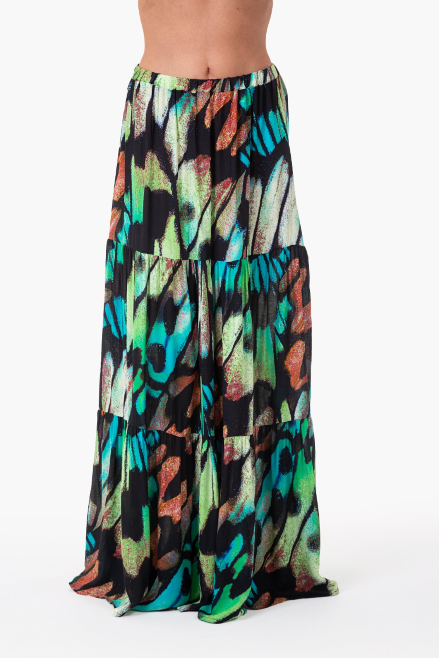 VISCOSE PRINTED LONG SKIRT - Farfalle Blu