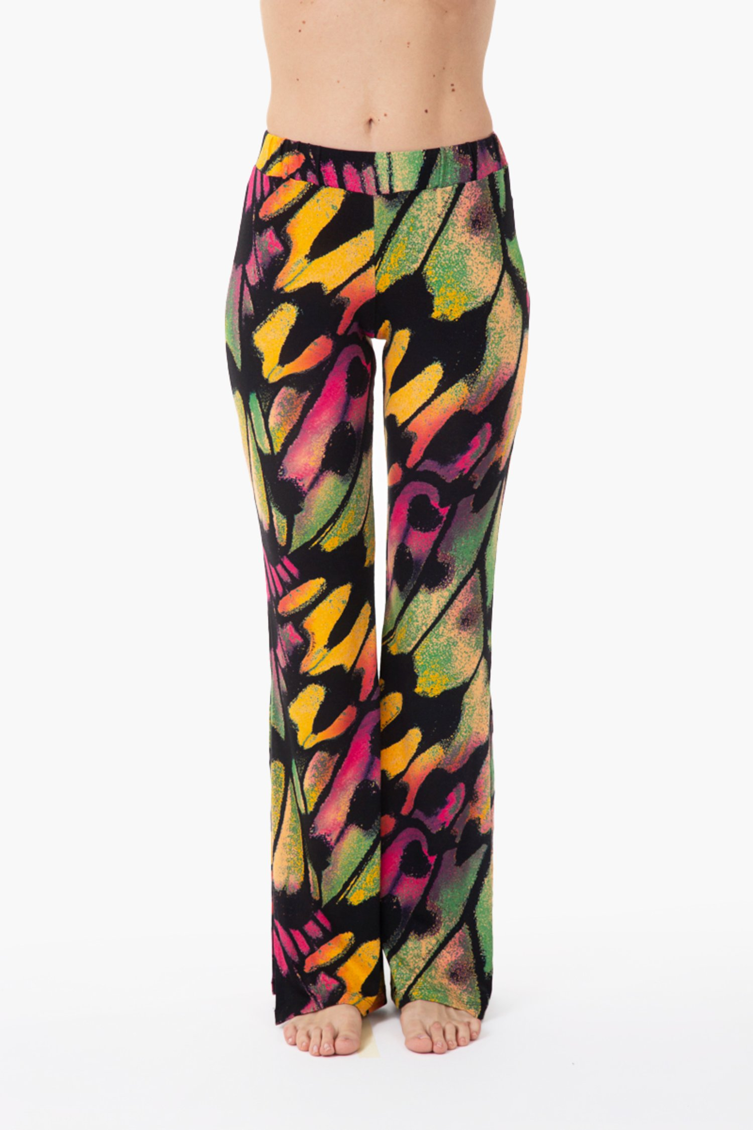 JERSEY PRINTED PANT WITH SIDE SLITS - Farfalle Arancio