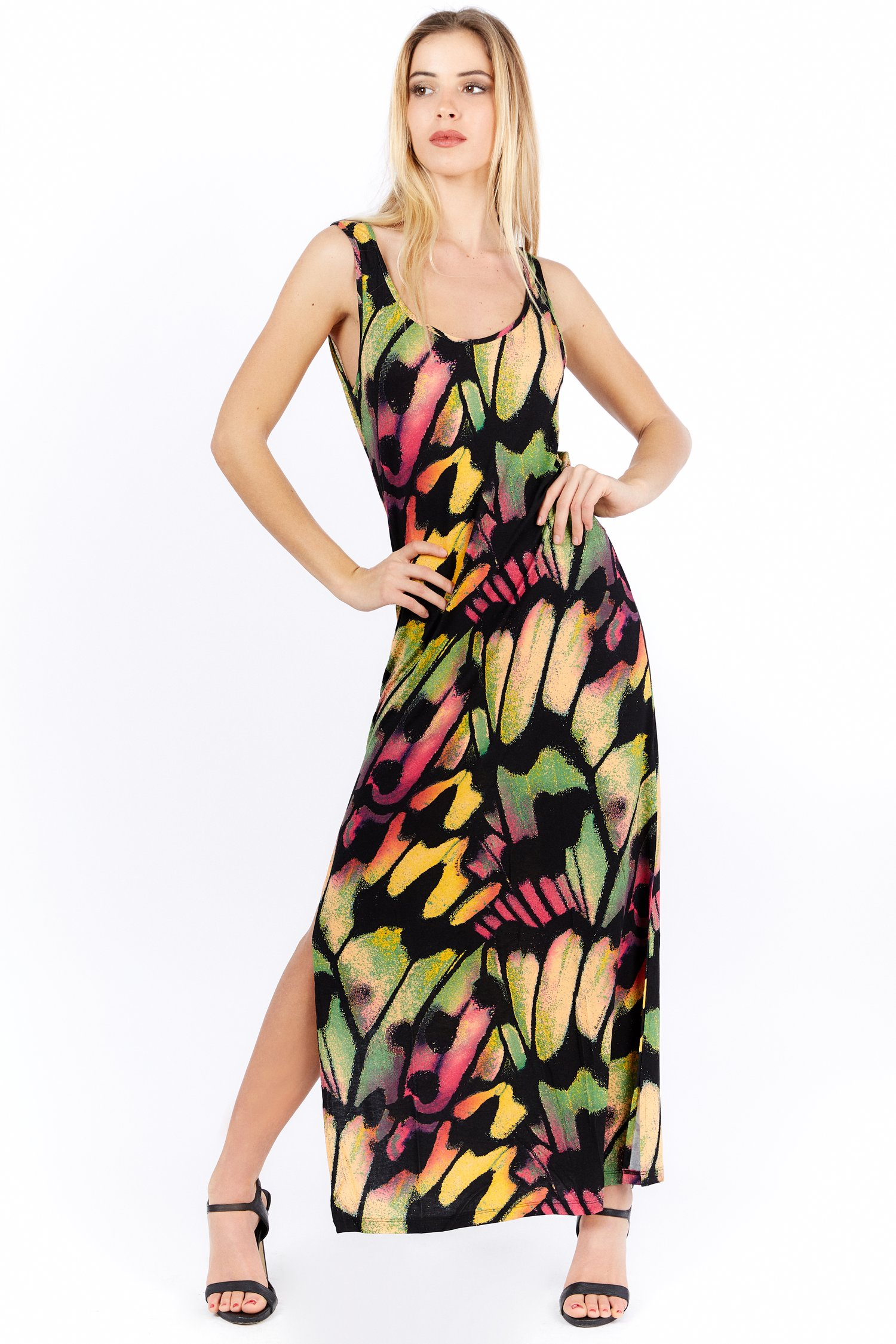 PRINTED JERSEY TANK TOP LONG DRESS - Farfalle Arancio
