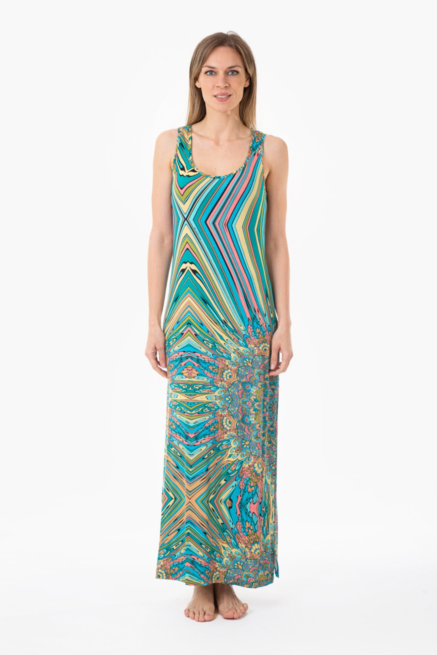 PRINTED JERSEY TANK TOP LONG DRESS - Mandala Azzurro