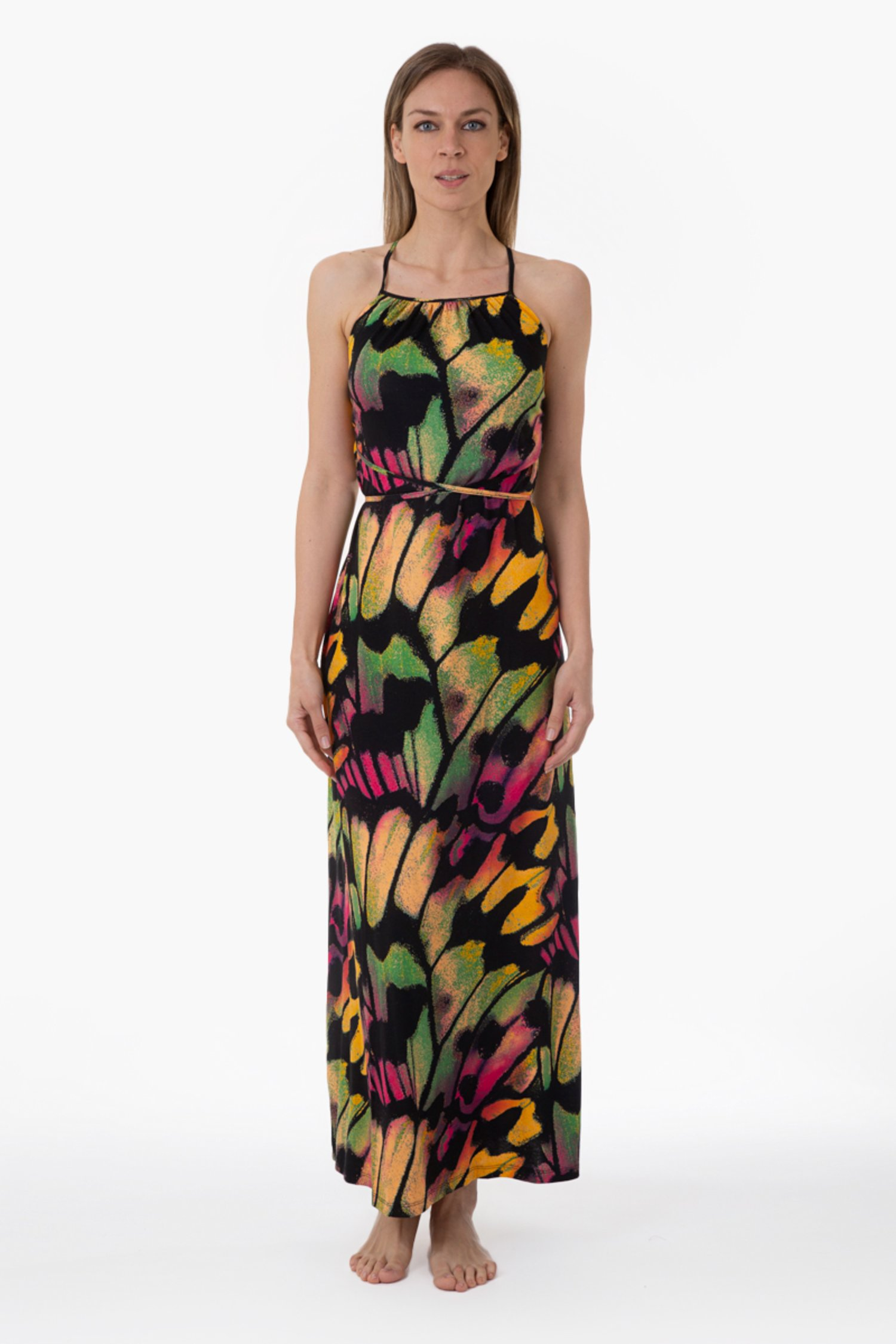 LONG JERSEY DRESS WITH CROSSED STRING - Farfalle Arancio