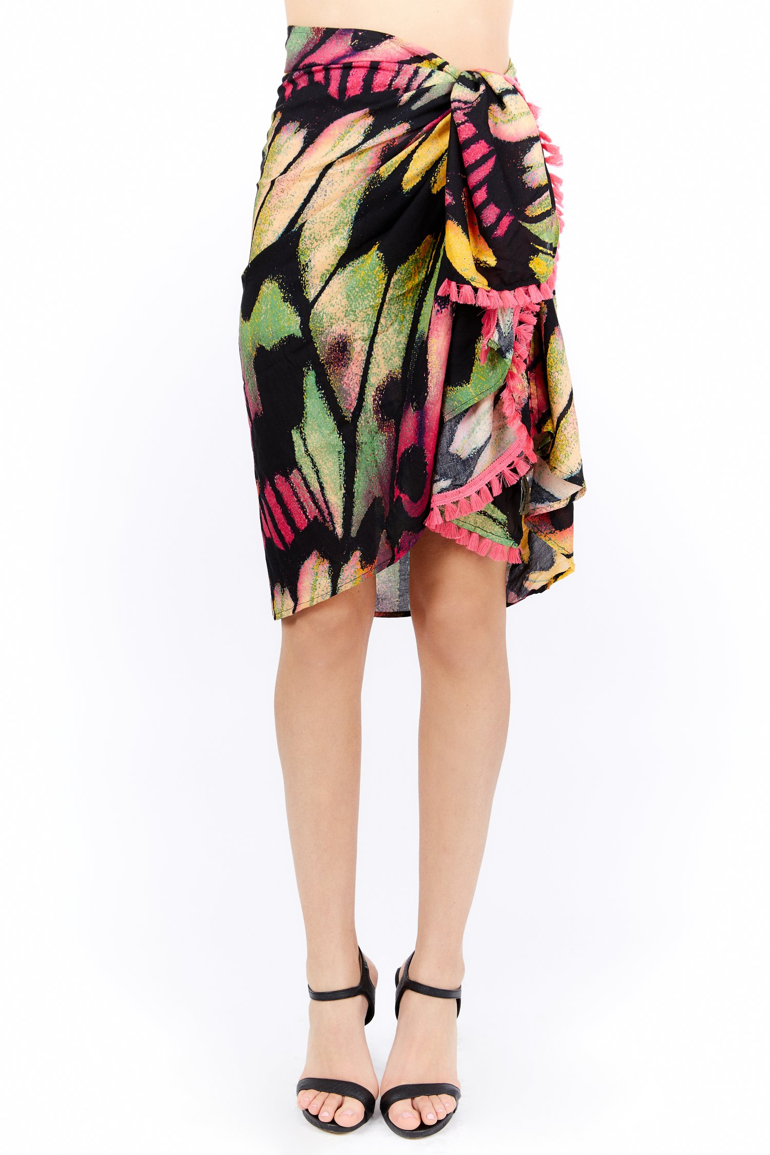 VISCOSE PRINTED WRAP COVER-UP - Farfalle Arancio