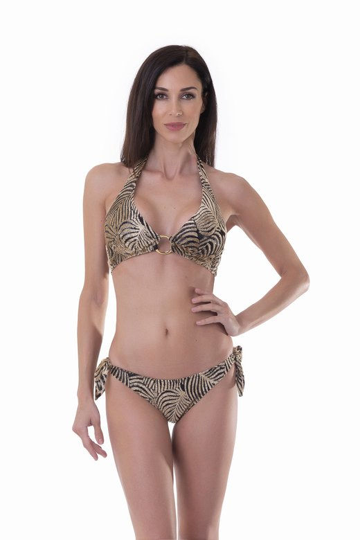 HALTER BIKINI WITH RINGS DEVORE' MEDIUM FIT BOTTOM