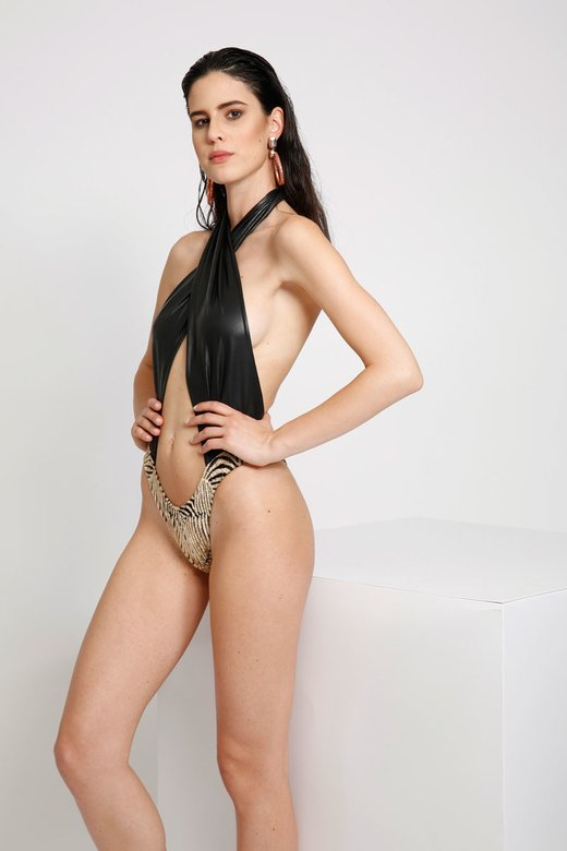 LUXE FRONT WRAP ONE-PIECE WITH DEVORE' BOTTOM
